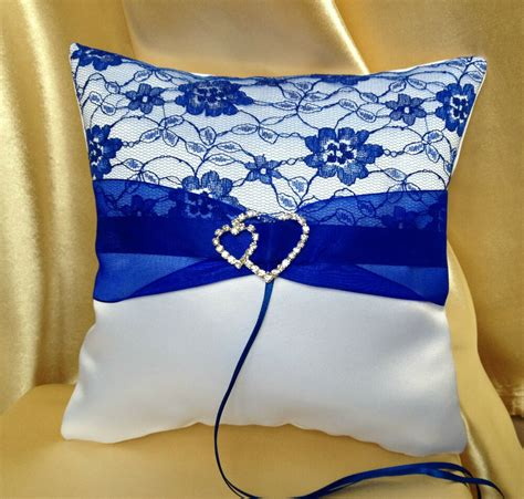 white royal blue wedding ring pillow bearer s pillow 19x19cm 7 5 x7 5 ebay