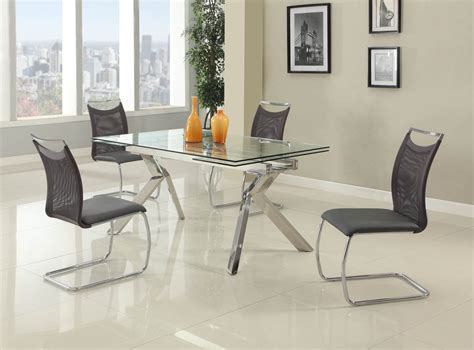 Fashionable Rectangular Glass Top Leather Kitchen Dinette