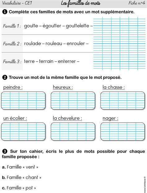 vocabulaire ce1 les familles de mots fiche n 1 pdf