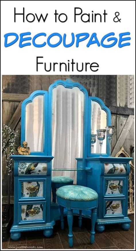 How To Paint & Decoupage Furniture  A Bold Peacock Vanity