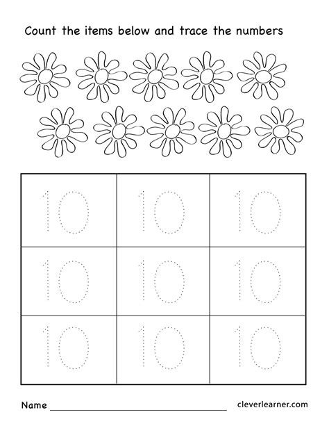 number ten writing counting and identification printable 584 | Number 10 preschool worksheets 04