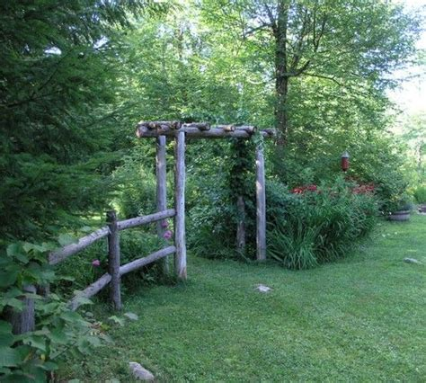rustic garden fence and arbor outdoor ideas