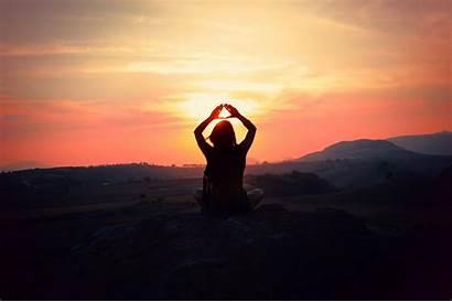 Mountains Woman Wallpapers Yoga Desktop Fitness Sunset