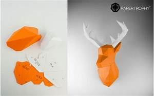 Trophée Animaux Origami : troph e mural origami de cerf orange pour la d coration de chambre enfant troph es animaux en ~ Teatrodelosmanantiales.com Idées de Décoration