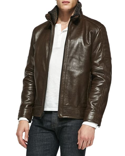 rugged leather jacket andrew marc shearling fur trim rugged leather jacket