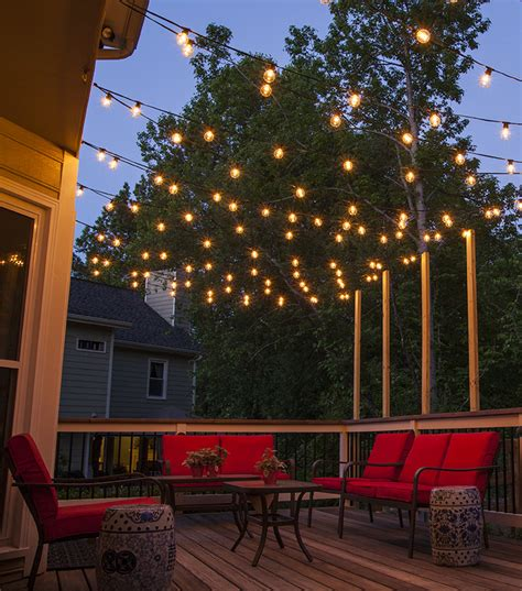 how to hang string lights on fence ideas for patio string lights blogbeen