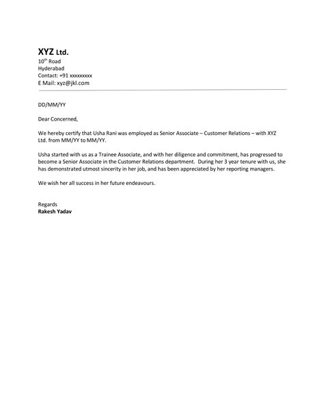 experience sample letter format  letter format