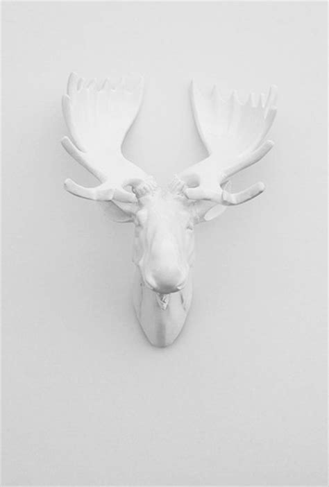 White Moose Head With White Antlers by White Faux