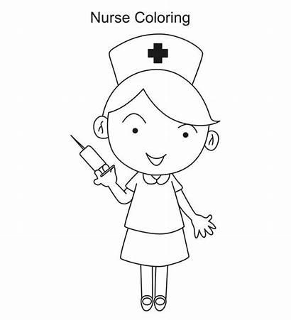 Nurse Coloring Clipart Syringe Needle Clip Kid