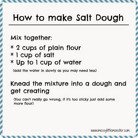 how to make dough how to make coloured salt dough messy little monster