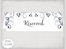 Reserved Signs For Wedding Tables Templates - Garden View Landscape