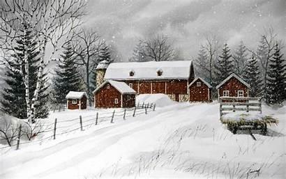 Country Winter Scenes Farm Kathy Glasnap Door