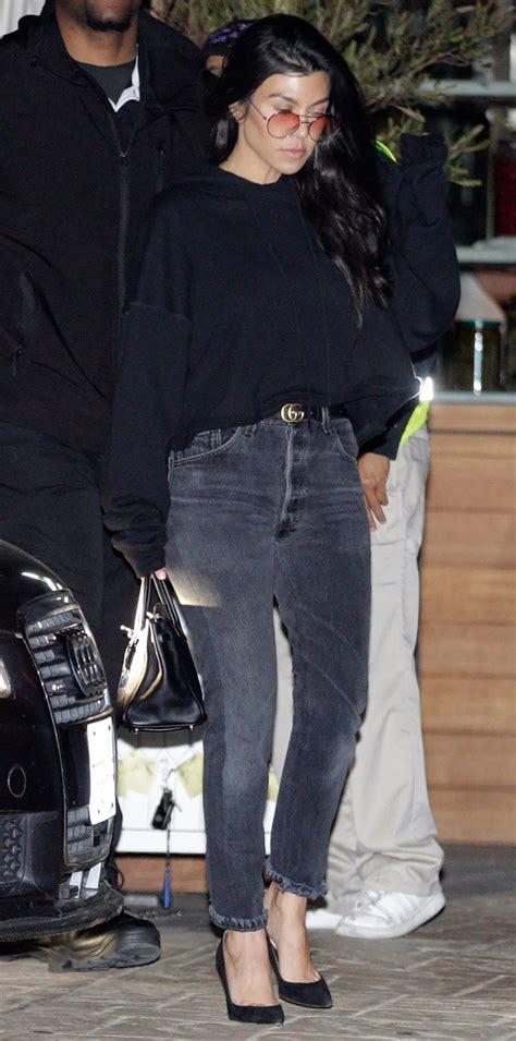 kardashian kourtney street looks jeans outfit outfits kardashians winter instyle clutch gucci night bag mom distressed lezen styles heels yahoo