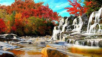 Autumn Nature Waterfall Fall Forest Wallpapers Landscape