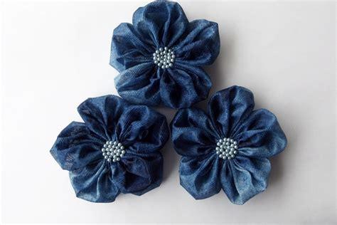 3pcs Colorful Flower Canvas Abstract Painting Print Art: Indigo Blue Flowers Handmade Appliques Embellishments(3