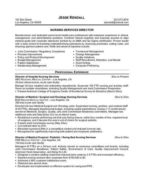 Director Of Nursing Resume Sles by Sle Director Of Nursing Resume Sle Resume Format