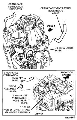 Where is the PCV valve located on a 1993 Ford Ranger XLT 2