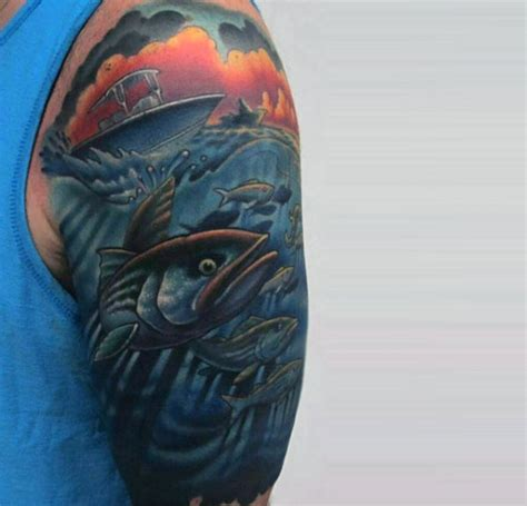 Fishing Boat Tattoo Designs by 75 Bass Tattoo Designs For Men Sea Fairing Ink Ideas