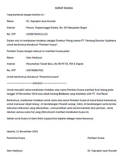 Contoh Surat Kuasa Pengambilan Berkas by Contoh Surat Kuasa Pengambilan Bpkb Di Oto Finance