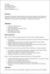 Catering Staff Description For Resume by Professional Catering Assistant Templates To Showcase Your