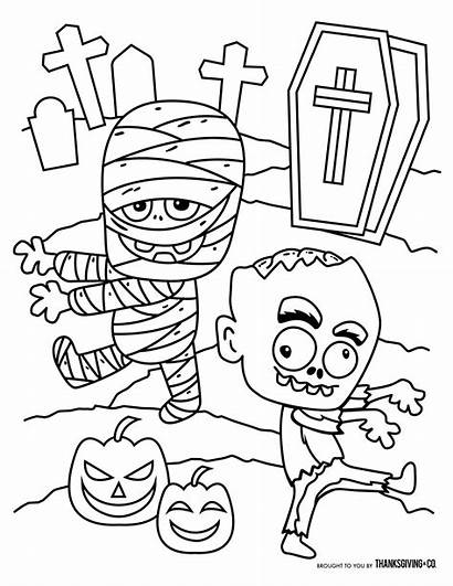Halloween Coloring Pages Thanksgiving Mummy Zombie Printable