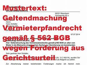 Mahnung Ohne Rechnung Bgb : mustertext vermieterpfandrecht vor berliner r umung 562 bgb ~ Themetempest.com Abrechnung