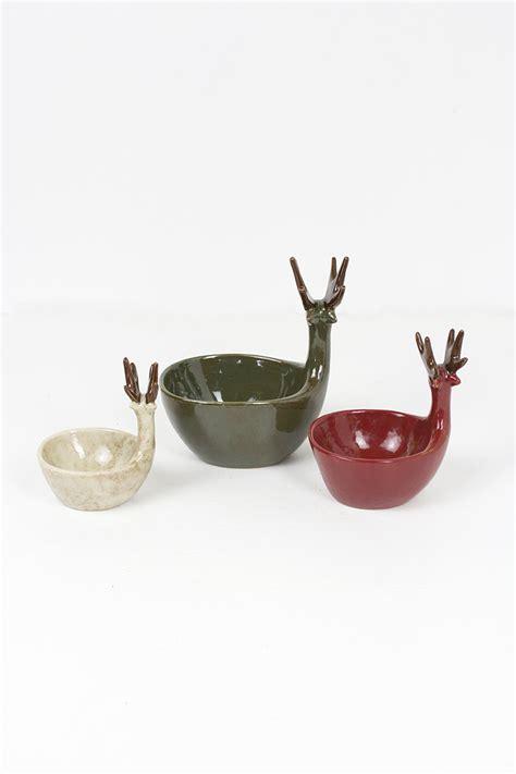 set   ceramic deer bowls