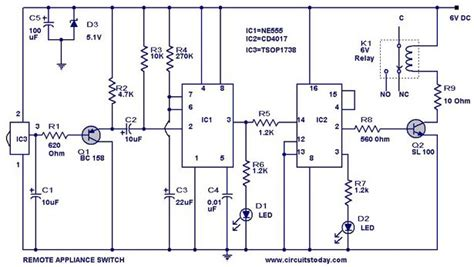 tv remote controlled home appliance circuit   timer
