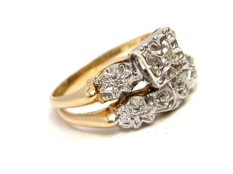 1950s diamond 14k gold engagement ring wedding band set