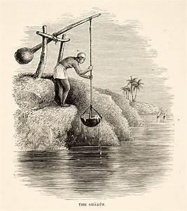 1891 Wood Engraving Shaduf Shadoof Swape Nile River Water