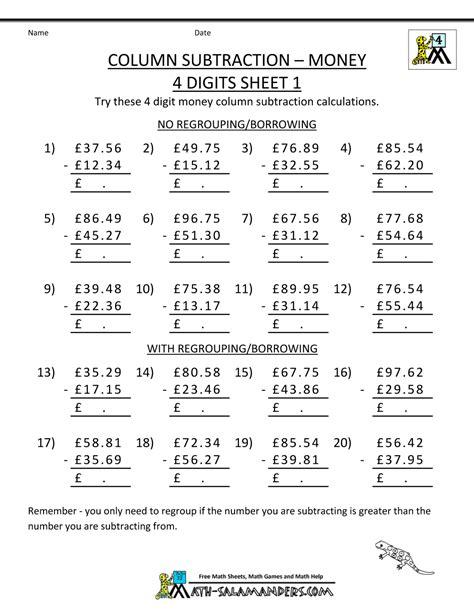 Subtracting Money Worksheets Uk Money