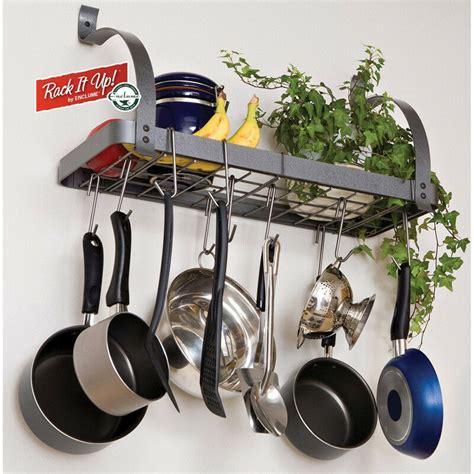 pans pot rack pots hanging wall hanger organizer mount shelf cookware pan racks kitchen storage hang hangers metal mounted enclume
