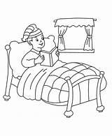 Coloring Bed Boy Drawing Reading Cama Para Pintar Printable Template sketch template