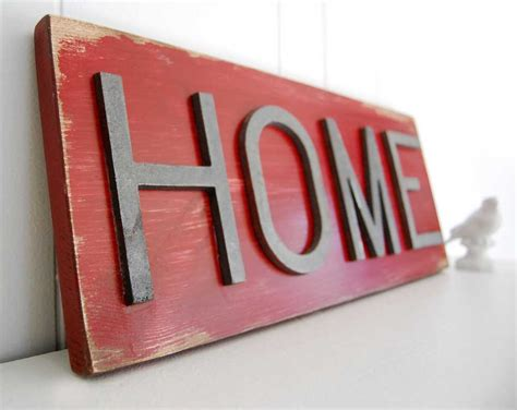 Mesmerizing Rectangular Red Wood Sign For Home Decoration