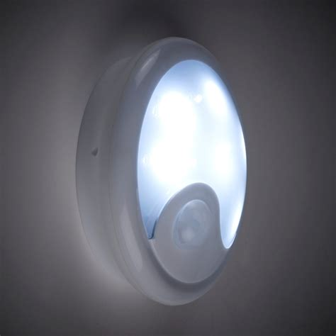 battery powered pir sensor wall light with 6 white leds lights4fun co uk