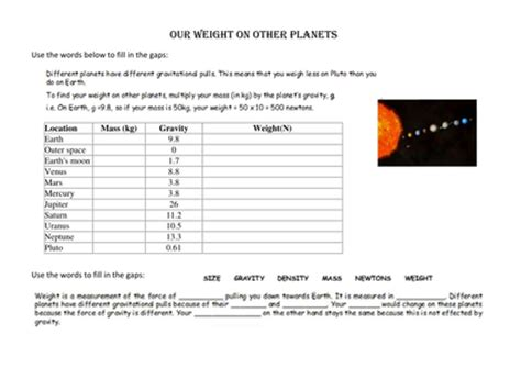 mass and weight on other planets by ameliepira uk
