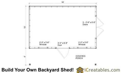 10x16 shed floor plans 10x16 colonial garden shed with porch plans