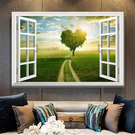 Modern wooden wall decor design ideas and living room interior wall decorating ideas 2021 from decor puzzle channelwooden wall decorations for home interior. Modern Canvas Print Wall Art Poster Window Frame Style Wall Decor Painting Natural Landscape ...