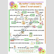Vocabulary Daily Routine (3rd Person)  Esl Worksheet By Karen1980