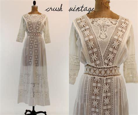 1910 Wedding Dress Xs / Edwardian Lace Lawn Dress By