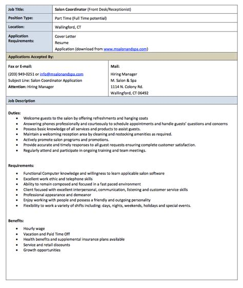 salon receptionist description resume http