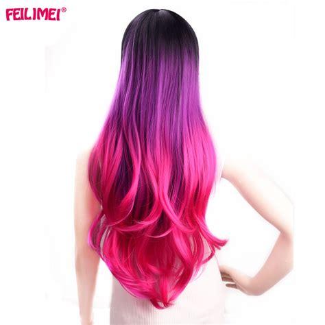 Feilimei Synthetic Ombre Wigs Pink Red Gray Purple Heat