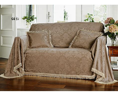 Fringed Damask Armchair X2 And 3-seater Sofa Throws
