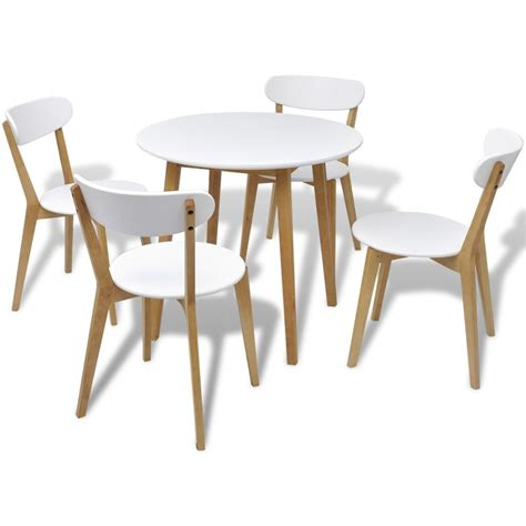 table ronde et chaise vidaxl five dining set mdf and birch wood vidaxl ie