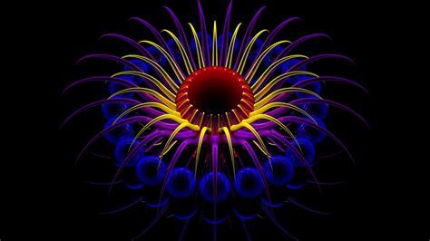 le de bureau neon fond ecran 3d fleur flower neon effet effect