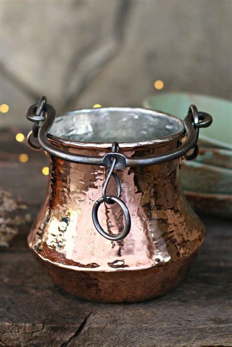 vintage copper cauldron utensil holder   copper utensils antique copper copper