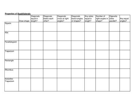 naming quadrilaterals worksheet 3rd grade worksheets