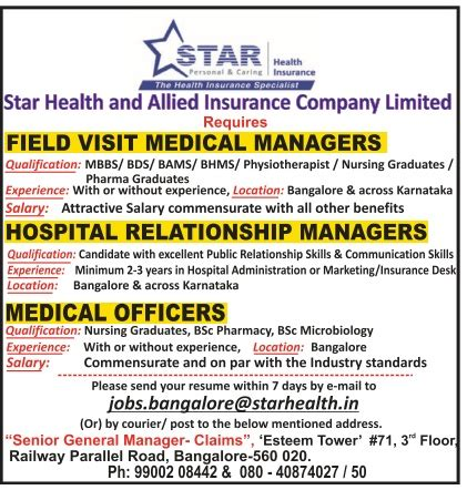 Compare and buy the best health insurance policy online in india. Star Health Insurance Allied Company Limited Required Managers And Officers Ad - Advert Gallery