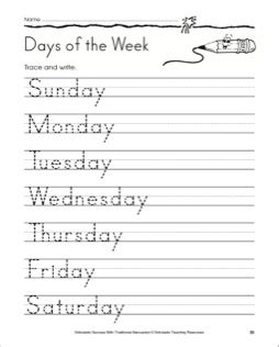 days of the week worksheet preschool crafts