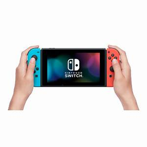 Nintendo Switch with Neon Blue Neon Red Joy Con